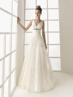 Charming A-line V-neck Appliques Lace Ruched Satin Floor-length Dress
