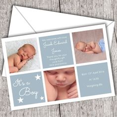 Baby Thank You Cards - 3 Photos Blue (10 Pack)
