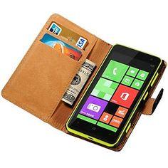 cassa del cuoio genuino del raccoglitore per Nokia Lumia 625 stand con supporto nuovo arrivo di carta di credito – EUR € 9.58