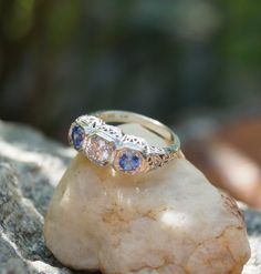 3 stone Diamond and Sapphire Ring, antique styling, size 6