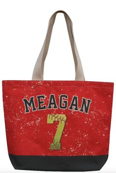 Custom Personalized Red and Black Softball Tote Bag