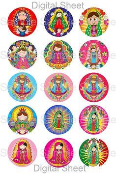 4 x 6 botella Digital Cap círculo imágenes Collage hoja - Virgencita Plis mezcla…