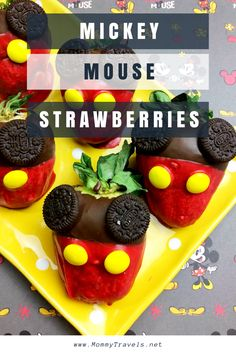 Mickey Mouse Chocolate Covered Strawberries recipe. Perfect for a Mickey Mouse birthday party or Disney party.