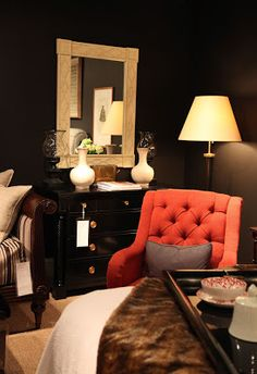 Inspiration for a masculine bedroom or study. Habitually Chic®