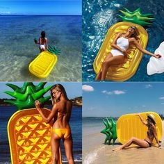 Vercrown Riesiges aufblasbares Ananas Schwimmtier,Pool Ananas Luftmatratze , Aufblasbar schwimmen Floß PVC Aufblasbarer Schwebebett Liegestühle Stuhl Luxus Ozean Lilo für Erwachsene und Kinder (L180*B90*H20cm): Spielzeug