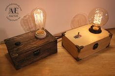 Mini Edison lamp wood vintage style