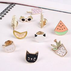 Hot Women Lovely Harajuku Style Fruit Cat Sunglass Leaf Pot Ice cream Watermelon Orange Brooch Pins broches para as mulheres
