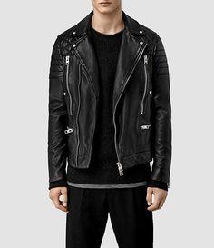 Mens Cranleigh Leather Biker Jacket (Black) | ALLSAINTS.com