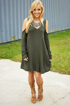 Share to save 10% on  your order instantly!  Join The Crowd Dress: Olive Green