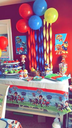 Paw Patrol Themed 2nd Birthday Party for boys. Paw patrol themed cake table