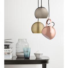 Ball Handle Pendant Light by Frandsen Lighting Copper Bell Shaped Pendant Lights Outdoor Pendant Lighting, Copper Pendant Lights, Black Pendant Light, Pendant Light Fixtures, Pendant Lamp, Metal Canopy, Ball Lights, Industrial, Light Shades