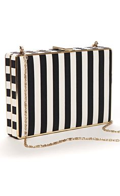 Small rectangular hard case clutch with a textured striped print and removable crossbody strap.