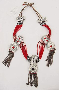 Necklace rafia, metal & glass early 20th century Masai Africa