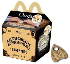 Amy Bruni started online rumor claiming that McDonald's will have Ouija Board Happy Meals for Halloween -- I couldn't imagine that McDonalds would be dumb enough to touch that PR disaster with a pole. Ouija, Coraline, Amy Bruni, Happy Meal Box, Funny Pictures, Boards, Meals, Make It Yourself, Horror Movies