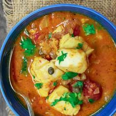 Sicilian Style Fish Stew Recipe: All-star recipe for fish stew with a Sicilian twist! The comfort of Italian flavors in one delicious stew w/ white wine-tomato broth, capers, raisins more! Fish Recipes, Seafood Recipes, Cooking Recipes, Healthy Recipes, Cooking Pork, Quick Recipes, Cooking Ideas, Mediterranean Diet Recipes, Mediterranean Dishes
