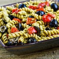 Kalyn's Kitchen: Recipe for Easy Pesto Pasta Salad with Olives and Roasted Red Peppers