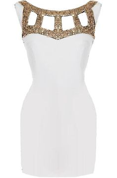 Gladiator Dress Features Glittering Gold, Chic Cutouts, and Sexy Body-Con Silhouette