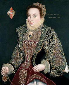 Mary Denton nee Martyn (age 15) by George Gower  Date painted: 1573.  The portrait might have been commissioned on the occasion of her wedding.
