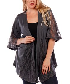 Love this Gray Lace-Godet Open Cardigan -by Yummy on #zulily! #zulilyfinds