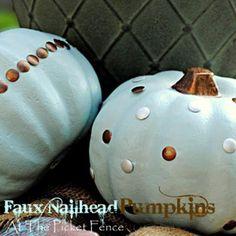DIY Halloween: DIY Faux Nailheads Pumpkin: DIY Halloween Decor