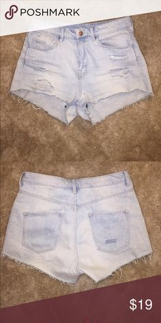 Light washed high waisted blue jeans Worn once. Great condition H&M Shorts Jean Shorts