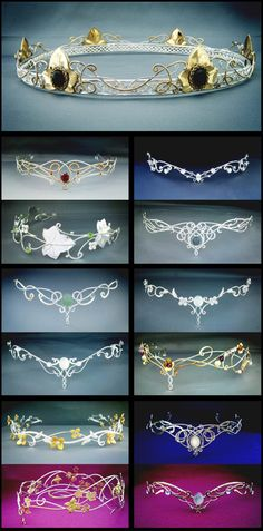 Elven circlets from Medieval times. Flip upside down and look like great tiaras Fantasy Dress, Fantasy Hair, Fantasy Makeup, Circlet, Tiaras And Crowns, Wire Jewelry, Head Jewelry, Jewelry Accessories, Jewelry Making