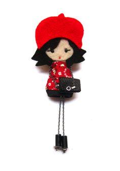Alice. # felt dolls # brooche doll # custom doll # minimis