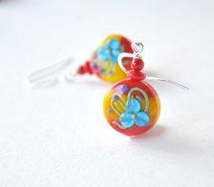 Red Flower Lampwork Glass Earrings #etsymntt