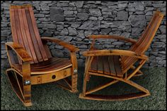 Barrel Concepts Wine Barrel Rocker - I've written to them to ask if they can make an extra wide chair to accommodate extra wide thighs!
