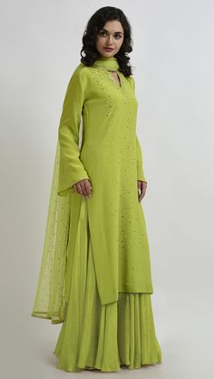 Lime Punch Sequin Hand Embroidered Pure Crepe Outfit with Dupatta Designer Dress For Men, Indian Designer Outfits, Designer Dresses, Lime Punch, Fashion Outfits, Fashion Clothes, Women's Fashion, Bridal Blouse Designs, Embroidered Clothes
