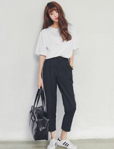 nice Addidas to any look. #blackandwhite loving the loose casual fit, the perfect t-s... by http://www.redfashiontrends.us/korean-fashion/addidas-to-any-look-blackandwhite-loving-the-loose-casual-fit-the-perfect-t-s/