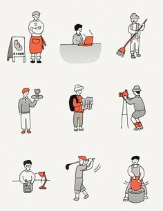 jihye Lee (yiji) on Behance City Illustration, Simple Illustration, Character Illustration, Simple Character, Character Creation, Character Design, Person Drawing, Drawing People, Banner Images