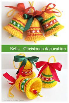Beginner Knitting Patterns, Knitting Machine Patterns, Crochet Amigurumi Free Patterns, Christmas Knitting Patterns, Free Knitting, Knitting Projects, Crochet Christmas Gifts, Christmas Bells, Baby Booties Free Pattern