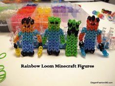 Rainbow loom - Minecraft figures - for Aubrey Loom Band Patterns, Rainbow Loom Patterns, Rainbow Loom Creations, Loom Love, Fun Loom, Rainbow Loom Charms, Rainbow Loom Bracelets, Rainbow Loom Minecraft, Rainbow Loom Characters
