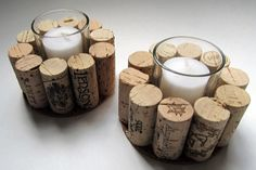 Wine Cork Votive Candle Holder - Set of Two - Rustic, Cottage Chic, Christmas Gift, Wine Lover's Home Decor