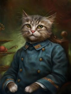 The Hermitage Court Confectioner Apprentice Cat - 6 Portraits of Courtly Cats Being Classically Classy by Eldar Zakirov I Love Cats, Crazy Cats, Cool Cats, Costume Chien, Cat Dressed Up, Fancy Cats, Gatos Cats, Cat Dresses, Cat People