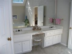 double sink bathroom vanity with makeup area | In Master Bath, the Vanity Includes Double Sinks w/ Makeup Area. Tiled ...