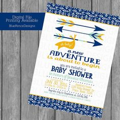 Boy baby shower invitation arrows a new by BlueFenceDesigns