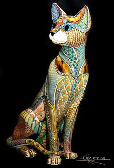 Beautiful art work looks amazing on Egyptian cat sculpture! Animal Sculptures, Sculpture Art, Oriental Cat, Egyptian Cats, Ceramic Animals, Mexican Folk Art, Kandinsky, Ceramic Artists, Oeuvre D'art