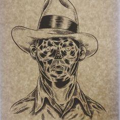 これはやりすぎ。。#yassutaka #art #pen #painting #ink #illustration #fashion #lowbrow #comic #customculture #outlaw #gent #worker #farmer #shirt #hat #mensfashion #vintage #1930s #suit #ragged