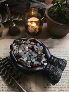 Home Remodel Additions Reiki Charged Hands Incense Holder // Hand Offering Incense with Mixed Natural Gemstone Pebbles // L