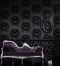 Maleficent (31-227) - Barbara Hulanicki Wallpapers - This black on black luxurious flock wallpaper brings Disney's most wicked villain to life in a large scale damask style illustration. Please request a sample for true match. Paste-the-wall product.