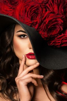 Picture of Portrait of a beautiful woman with Red Roses in hat. stock photo, images and stock photography. Photography Words, Fashion Photography, Foto Poster, Foto Fashion, Beauty And Fashion, Foto Art, Love Hat, Derby Hats, Shades Of Red