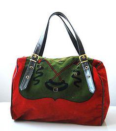 Vintage ROBERTA DI CAMERINO Red Velvet Handbag Purse Red