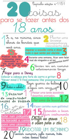 20 coisas para fazer antes dos 18 anos | Depois que crescemos Book Journal, Bullet Journal, Learning For Life, Things To Do With Boys, Mo S, English Quotes, Just In Case, Knowledge, Challenges