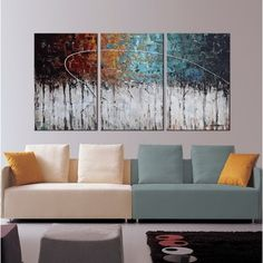 Hand-painted 'Winter Forest' 3-piece Gallery-wrapped Canvas Art Set - Free Shipping Today - Overstock.com - 18383439 - Mobile