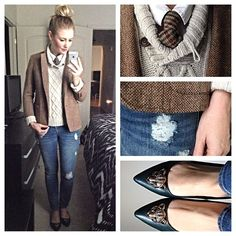 Tweed blazer, grey pullover, tie, white buttone up, distressed jeans, pointed flats, high bun. #style #outfit #menswear- karla reed's instagram