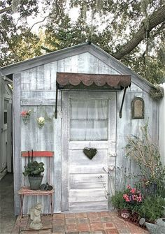 Beautiful little garden shed with tin awning over door - would love this in my yard Outdoor Sheds, Outdoor Gardens, Garden Cottage, Home And Garden, Rustic Cottage, Rustic Shed, Cottage Style, Potting Sheds, Potting Benches