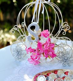 Fairy Tale Carriage Centerpiece with Monogram Letter