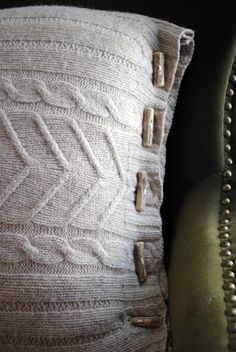 diddle dumpling: felted wool sweater pillow cover with custom DIY twig buttons